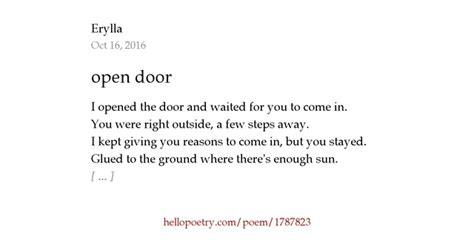 Open The Door Poem by Open Door By Erylla Hello Poetry