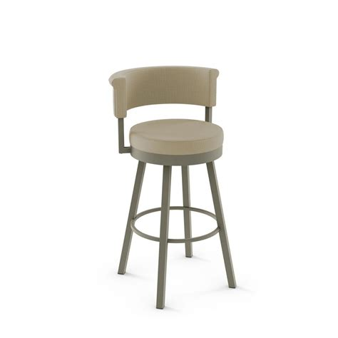 Metal And Fabric Bar Stools by Amisco Rosco 30 In Matt Light Grey Metal Beige Fabric