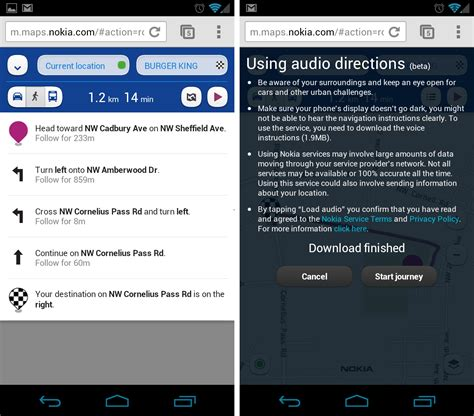 android web browser nokia maps now offering voice guidance via android web browser droid