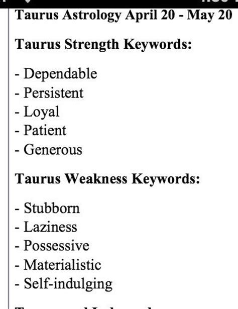 taurus strength and weakness keywords astrology pinterest