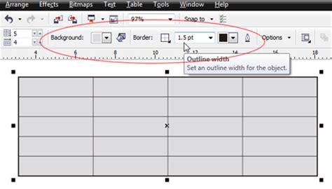 membuat warna border tabel html cara membuat tabel dengan corel draw x5 coreldraw