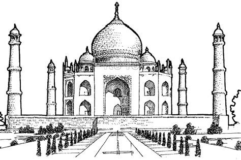 Taj Mahal Outline Coloring Pages Taj Mahal Coloring Page