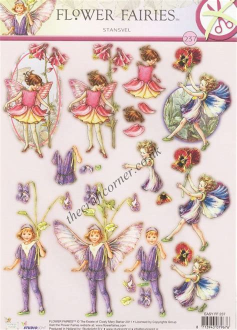 Pansy Dog Violet & Columbine Flower Fairy 237 3D Decoupage