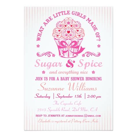 Sugar And Spice Baby Shower Invitation Card by Sugar And Spice Cupcake Baby Shower Invitation Card