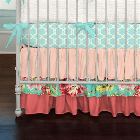 Coral And Teal Floral Crib Skirt Three Tier Carousel Designs Coral And Teal Crib Bedding