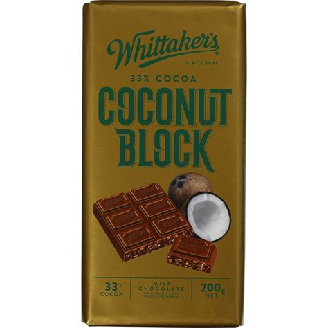 Whittakers Chocolate 200g whittakers milk chocolate 33 cocoa coconut 200g 183 retail