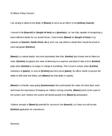 Letter Of Recommendation Army character reference letter 6 free word pdf documents