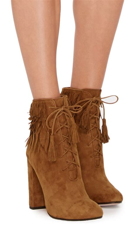 aquazzura boots aquazzura woodstock suede fringed ankle boots in brown lyst