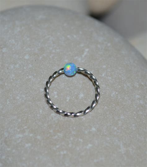 captive bead nose ring opal nose ring silver captive bead ring 18g cartilage