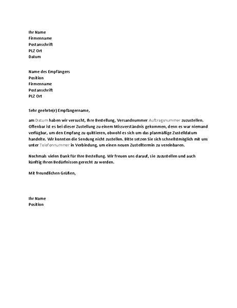 Gesch Ftlich Briefvorlage brief zur benachrichtigung eines kunden 252 ber eine verpasste zustellung office templates