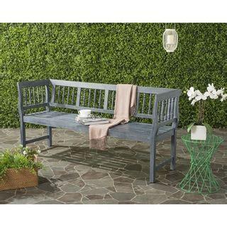 safavieh brentwood outdoor grey bench  images teak