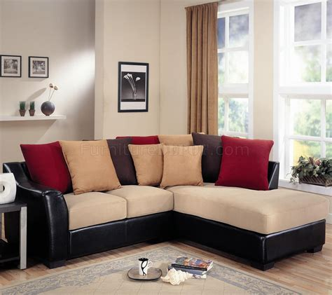 modern microfiber sectional sofa vinyl base  beige