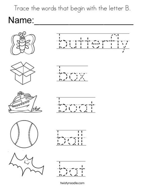 coloring pages that start with the letter b trace the words that begin with the letter b coloring page