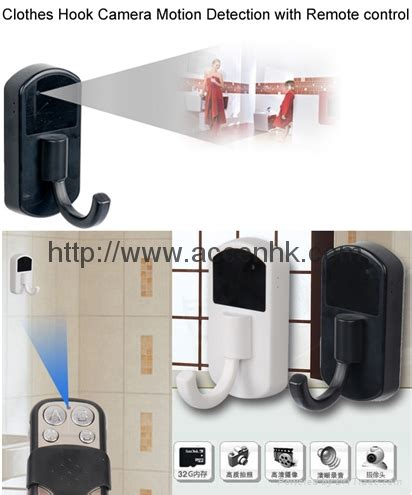 motion activated coat hanger clothes hook dvr camera