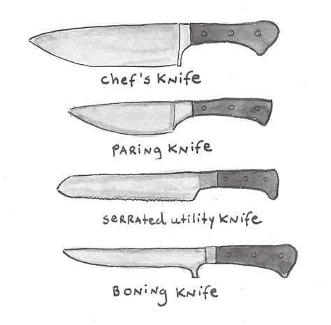 types of kitchen knives different types of knives an illustrated guide knives kitchen knives and recipe box