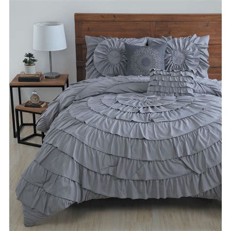 ruffle comforter set beautiful modern chic grey elegant luxury pintuck ruffle