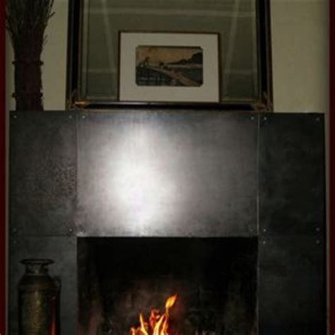 custom brushed stainless steel fireplace mantels and