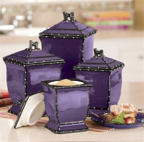 purple kitchen canister sets ruffle 4 piece canister set from ginny s 174 purple rain