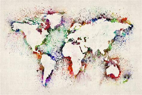map   world paint splashes digital art  michael