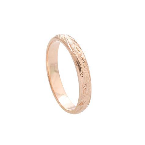 hawaiian jewelry 14k pink gold 3mm king scrolling ring