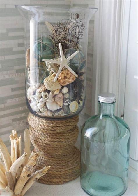vessels  display collected seashells coastal decor