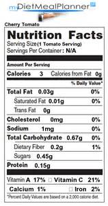 calcium in cherry tomato nutrition facts for cherry tomato