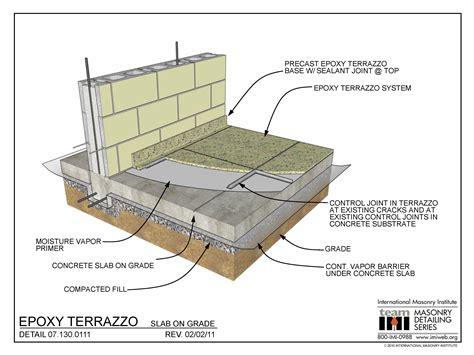 Floor Slab by 07 130 0111 Epoxy Terrazzo Slab On Grade