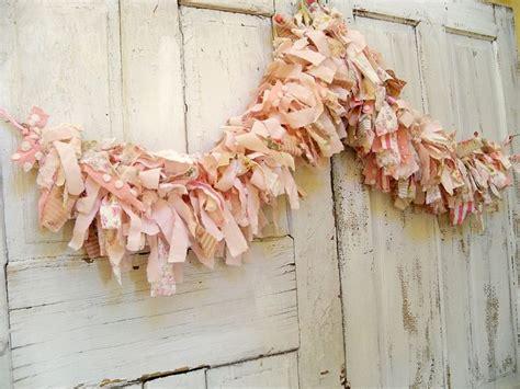 hand made shabby chic pink scrap fabric garland very full