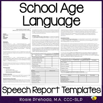 speech language evaluation report template rosie prehoda teaching resources teachers pay teachers