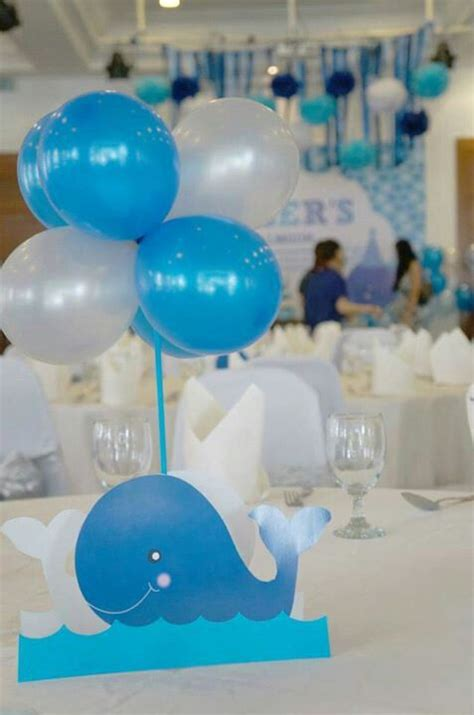 Whale Baby Shower Centerpieces by Whales Ballons Decor Ideas Streamers