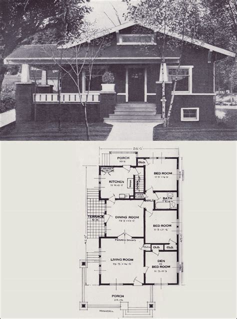 1920 Craftsman Bungalow Style House Plans 1920 Craftsman 1920s Cottage House Plans