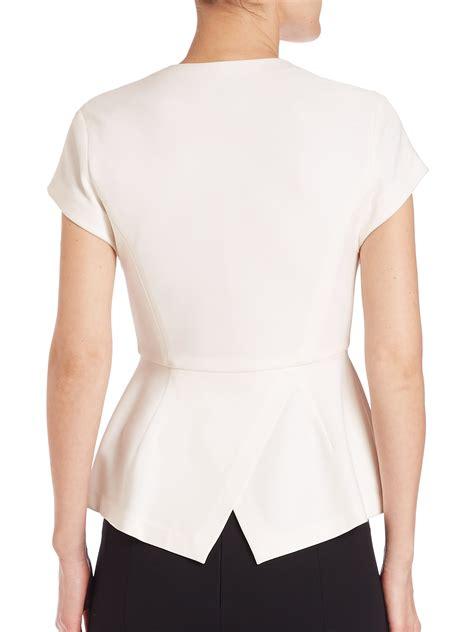 I New Peplum Desire In White donna karan cap sleeve peplum top in white lyst