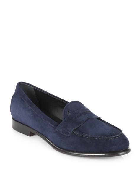 tods suede loafers tod s suede loafers in blue lyst