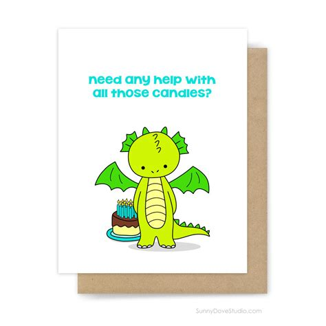 Birthday Gift Card Ideas For Him - funny birthday card for him her friend cute fun dragon pun