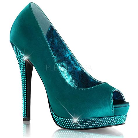 turquoise high heel shoes bordello turquoise rhinestone platform peep toe pumps