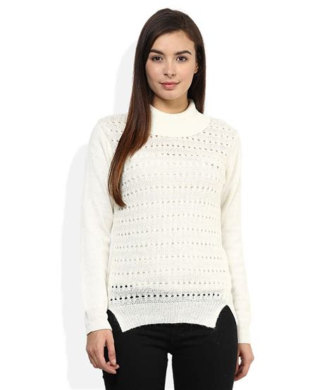 High Neck Sweter N buy madame white high neck sweater at best prices in india snapdeal