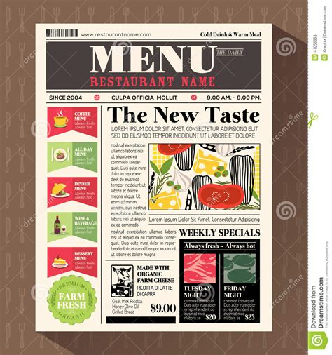 Restaurant Menu Design Template In Newspaper Style Stock Vector Image 41056963 Newspaper Style Menu Template