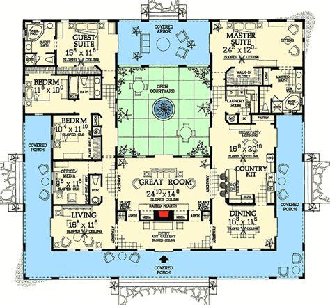 first floor in spanish open courtyard dream home plan 81384w 1st floor master