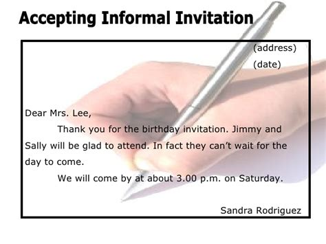 Acceptance Letter For Dinner Invitation Invitations