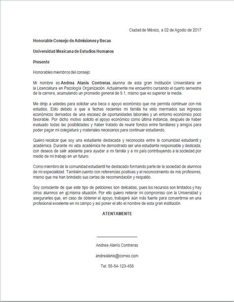 formato para carta de beca ejemplo de carta de solicitud de beca por situaci 243 n econ 243 mica mil formatos