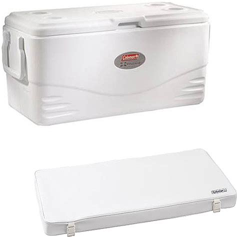cooler with seat cushion coleman 100qt marine white cooler with bonus cooler seat