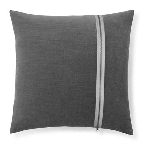 velvet silk pillow cover with exposed zipper graphite