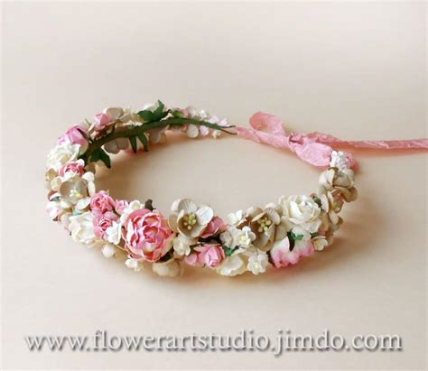 Wedding Hair Wreath Of Flowers by Pink Floral Crown Rustic Wedding Wreath Bridal Flower