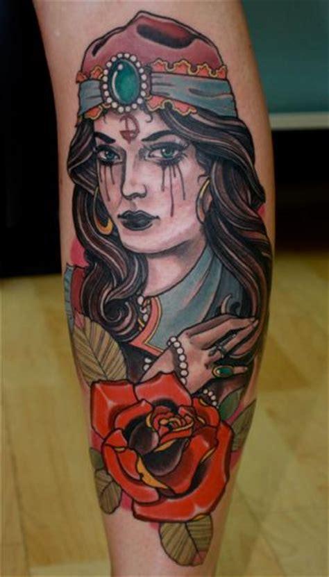 new school gypsy tattoo new school calf gypsy tattoo by dagger lark tattoo