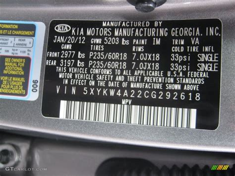 2012 kia sorento ex v6 color code photos gtcarlot