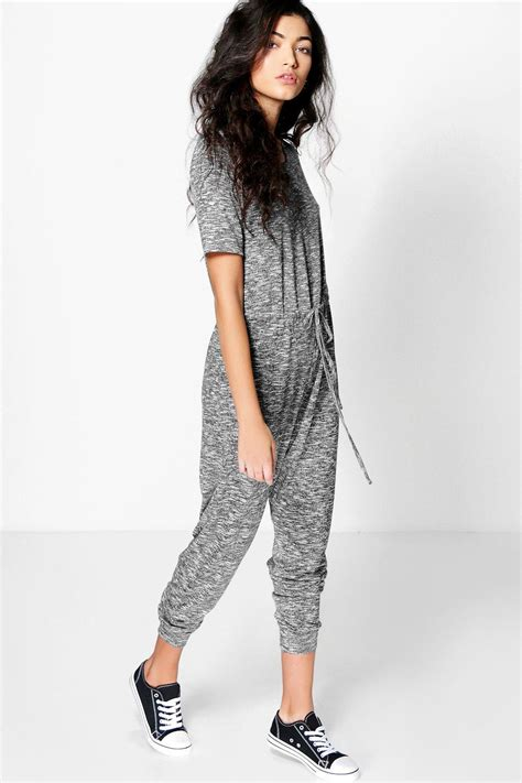 knitted jumpsuit emily knitted casual cap sleeve jumpsuit at boohoo