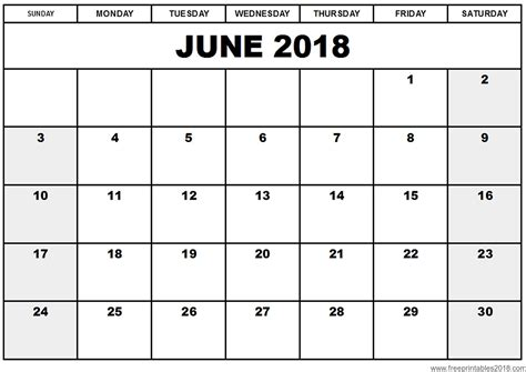 Or Free 2018 Free Printable Calendar June 2018 Free Printables 2018