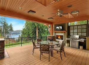 Backyard Bbq Decks This Covered Bbq Deck Features A Fireplace And Grilling