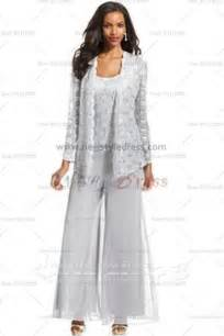 Home three piece mother of the bride pants suits with lace jacket