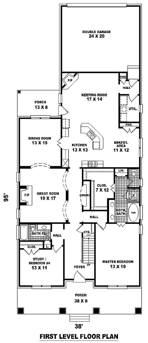 narrow lot style house plan    bed  bath